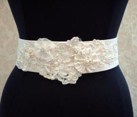 Beaded Wedding Sash Belt / Vintage Ivory Lace, Satin, Organza, Illusion Tulle, Bridal Sash