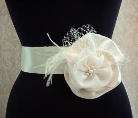 Feather Bridal Sash, Floral Wedding Belt Sash, Ivory Satin Bridal Sash, Feathers, Crystals, Rhinestones, Pearls, Russian Netting