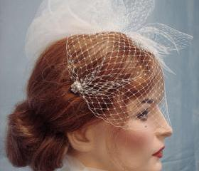Paris Chic Bandeau Birdcage Veil Embellished With Crystals Pearls And Crystal Beads