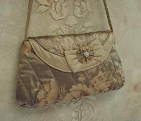 Couture Silk Clutch For Wedding Or Evening Out / Gold And Tan Painted Silk