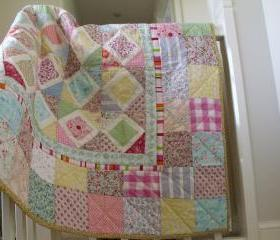 modern handmade patchwork quilt baby quilt girls patchwork quilt play mat wall hanging