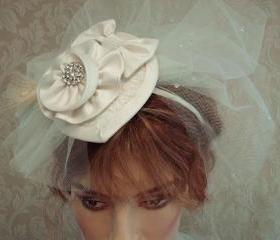 Bridal Fascinator Hat / Hair Clip / Headband With Teardrop Tulle Blusher Veil