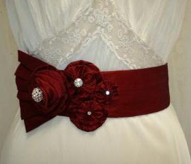 Red Bridal Sash / Red Wedding Floral Sash, Red Wedding Sash Rhinestone Sash