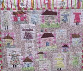 modern handmade patchwork quilt girls quilt lap quilt cover with houses and people