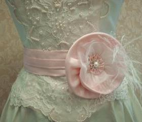Pink Bridal Sash Belt / Satin Shantung, Organza, Floral Sash, Feathers, Rhinestone Pearl Button And Russian Netting