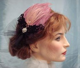 Diva Feather Fascinator Pink And Black For Dance Ballerina Burlesque / Bride Or Bridesmaid