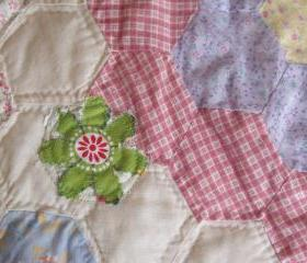 Modern patchwork quilt with vintage twist baby quilt in pastel colours traditional style quilt cover updated