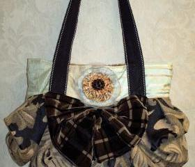 Tan And Black Tapestry Boho Chic Carpet Bag With Handcrafted Removable Brooch