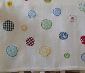 baby blanket baby boy blanket baby girl blanket cream with multicoloured circles