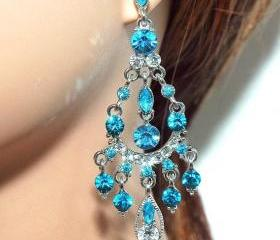SALE Tiffany blue Chandelier Earrings - Wedding Jewellery - Bridesmaids Gift