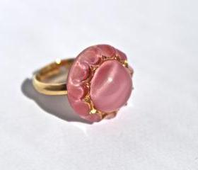 Vintage Pink Moonstone Ring