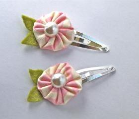 Two Pink Fabric Flower Snap Clips
