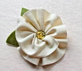 Ivory Jersey Flower Brooch and Hair Clip