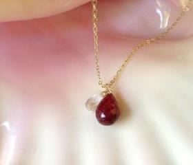 Ruby and Crystal Quartz drops