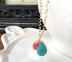 Coral Quartz (Cherry Quartz) paired with Turquoise Drop