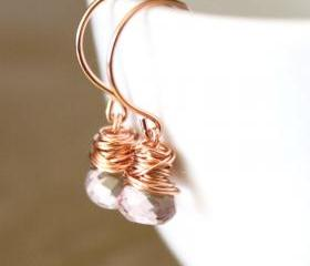 Pink Quartz Rose Gold Earrings Wirewrapped Bridesmaid Feminine