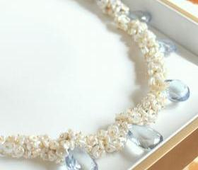SEYMOUR--Sky Blue Topaz and Cream Keshi Pearl Gold Fill Necklace