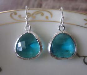 Sea Green Earrings Silver - Sterling Silver Earwires - Bridesmaid Earrings - Bridal Earrings - Wedding Earrings