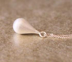 Brushed Metal Sterling Charm Necklace Pendant