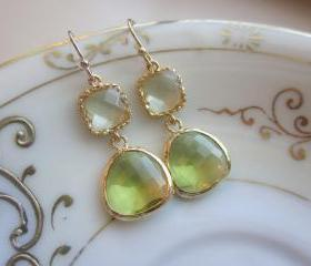 Peridot Earrings Green Citrine Block Gold Plated - Bridesmaid Earrings Wedding Earrings Bridal Earrings