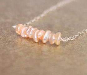 Pink Keishi Pearl Necklace Sterling Silver Chain Wirewrapped Bridal Bridesmaid June Birthstone