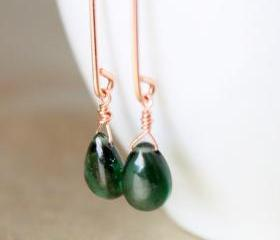 Green Chrome Diopside Rose Gold Earrings Long Marquise Wire