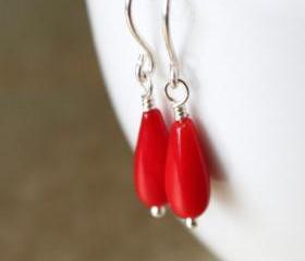 Fiery Red Coral Earrings Sterling Silver Wirewrapped Handmade Earwires