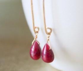 Polished Smooth Ruby Teardrop Long Gold Earrings