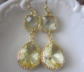 Citrine Earrings Yellow Gold Earrings Teardrop Glass - 14k Gold Filled Earwires - Bridesmaid Earrings Wedding Earrings