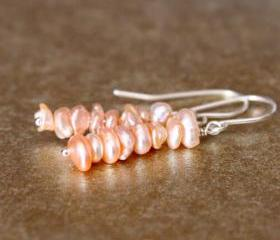 Pink Keishi Pearl Earrings Sterling Silver Wirewrapped