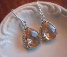 Champagne Earrings Peach Silver Earrings Teardrop Glass - Bridesmaid Earrings Wedding Earrings Bridal Earrings