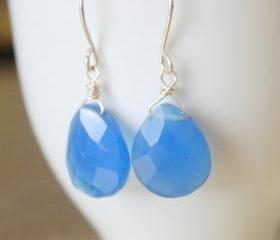 Ocean Blue Chalcedony Teardrop Briolette Sterling Silver Earrings