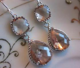 Champagne Earrings Peach Silver Earrings Teardrop Glass Two Tier - Bridesmaid Earrings Wedding Earrings Bridal Earrings