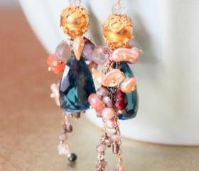DUBAI--London Blue Quartz and Multigemstone Gold Earrings