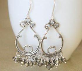 SWIRL--Sterling Silver Chandelier and Pyrite Earrings