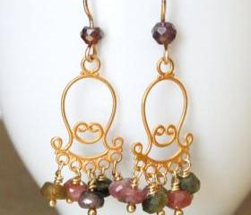 SANDIA--Watermelon Tourmaline and Gold Chandelier Earrings