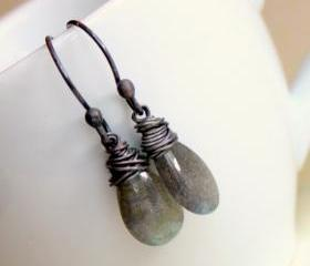 SALE--PEBBLE NUIT--Gray Labradorite and Oxidized Sterling Silver Teardrop Earrings