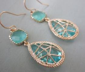 Aquamarine Blue Earrings Twisted Design - Bridesmaid Earrings Wedding Earrings Bridal Earrings