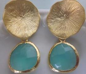 Aqua Blue Earrings Gold Mushroom Coral - Sterling Silver Posts - Bridesmaid Earrings - Bridal Earrings