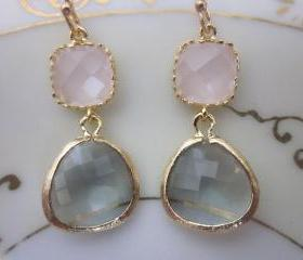 Gold Charcoal Gray Earrings Pink Earrings - Bridesmaid Earrings - Bridal Earrings - Wedding