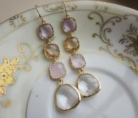 Crystal Earrings Pink Champagne Lavender Earrings - Bridesmaid Earrings - Wedding Earrings - Bridal Earrings