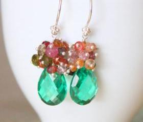 LIMERICK--Kelly Green Quartz and Tourmaline Cluster Teardrop Earrings