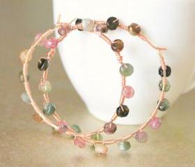 WHIMSY--Rose Gold Tourmaline Encrusted Hoop Earrings