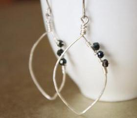 Mystic Blue Spinel Hammered Sterling Silver Leaf Hoop Earrings