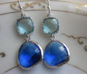 Cobalt Blue Earrings Aquamarine Silver Two Tier - Sterling Silver Earwires - Bridesmaid Earrings Wedding Earrings Bridal Earrings