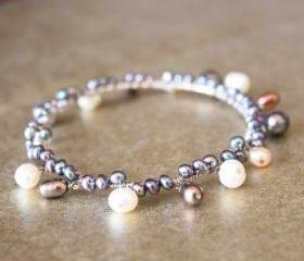 SEAFOAM--Sterling Silver Freshwater Pearl Bangle