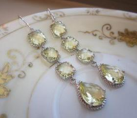 Citrine Earrings Yellow Earrings - 4 tier earrings - Sterling Silver - Bridesmaid Earrings - Wedding Earrings - Bridal Earrings