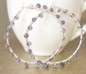 DENIM--Iolite Encrusted Sterling Silver Hoop Earrings