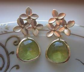 Peridot Earrings Apple Green Gold Cherry Blossom - Sterling Silver Posts - Bridesmaid Earrings - Bridal Earrings - Wedding Jewelry