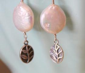 White Coin Pearl Sterling Silver Leaf Charm Dangle Earrings June Birthstone Gift